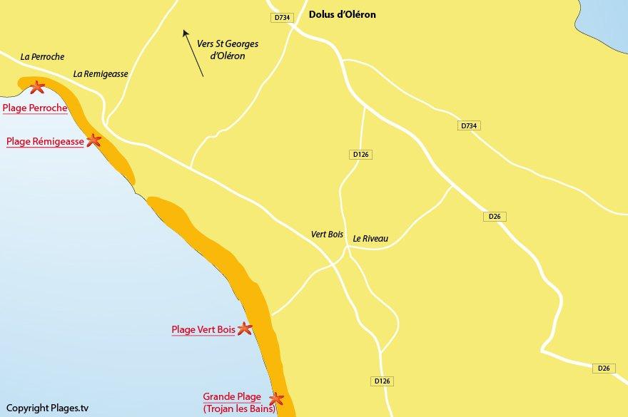 Carte des plages de Dolus d'Oléron