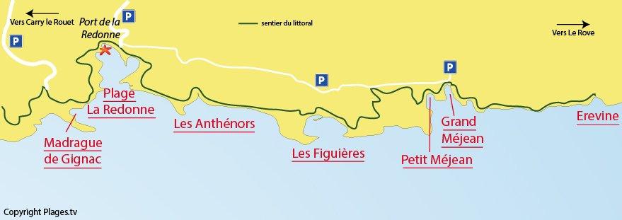 Carte des plages d'Ensuès la Redonne sur la Côte Bleue