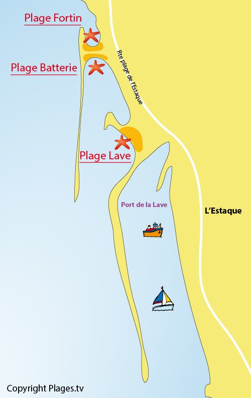 Map of Estaque Beach in Marseille