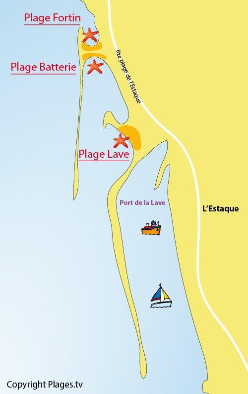 Carte des plages de l'Estaque à Marseille