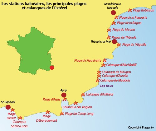 Carte des plages de l'Estérel