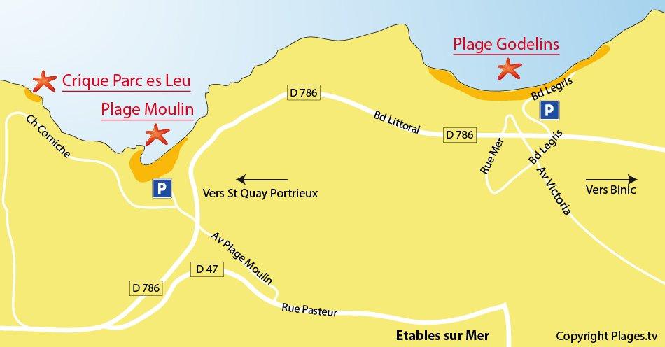Plan des plages à Etables sur Mer