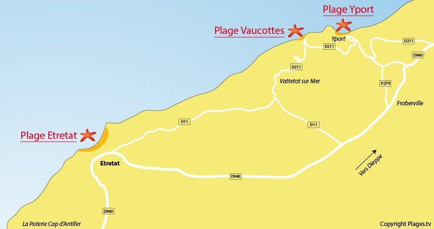 Carte des plages autour d'Etretat en Normandie