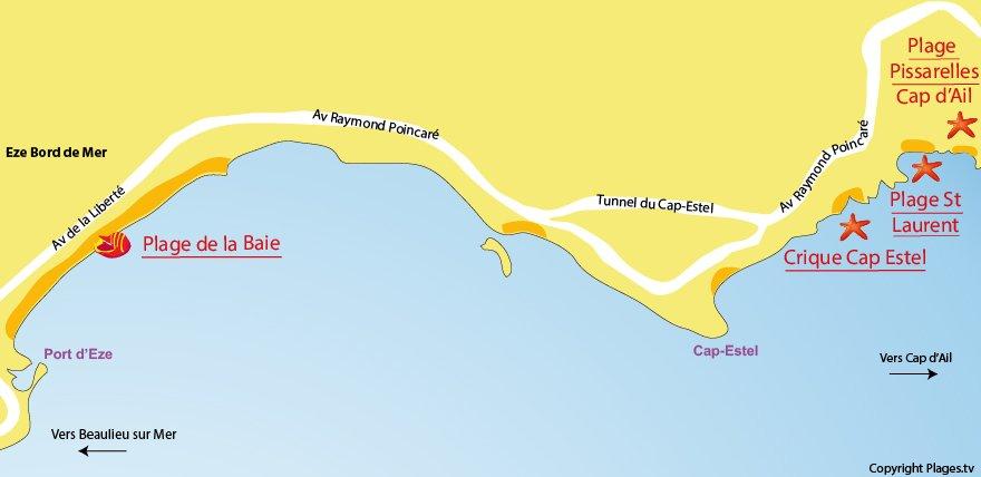 Plan des plages à Eze