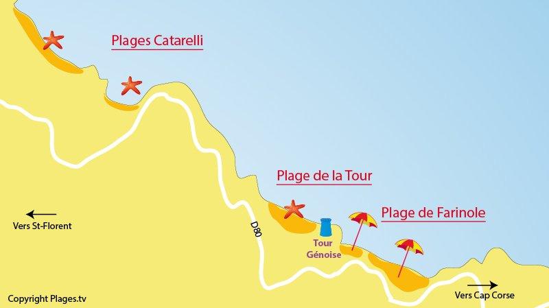 Carte de la plage de Farinole en Corse