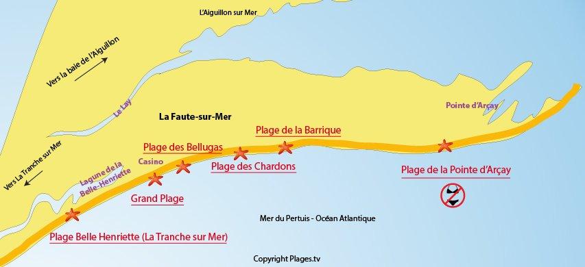 Plan des plages de La Faute sur Mer