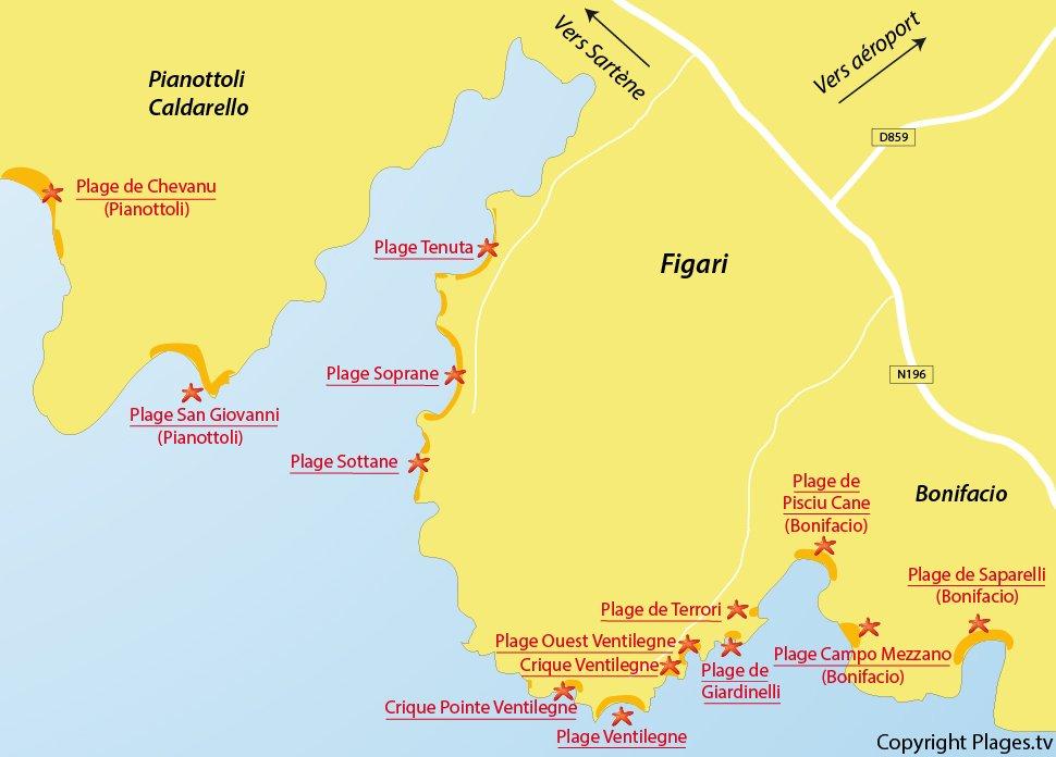 Plan des plages de Figari - Corse