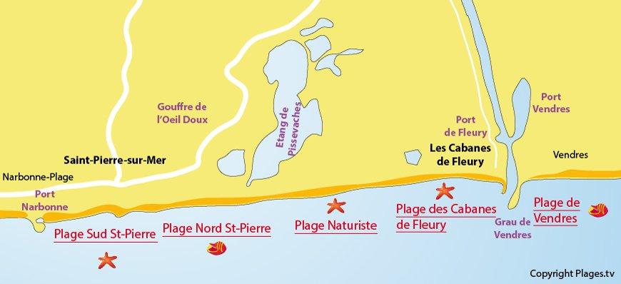 Carte des plages de Fleury d'Aude et de Saint-Pierre sur Mer (11)