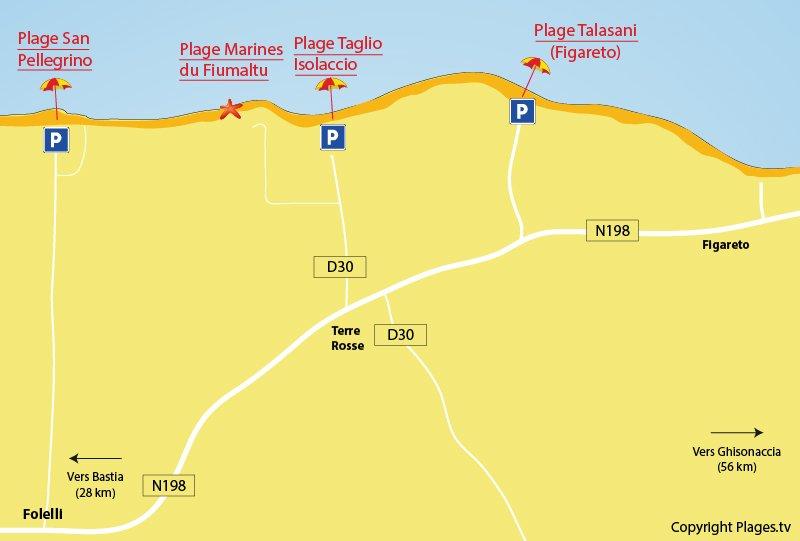 Plan des plages de Folelli en Corse (Penta di Casinca)