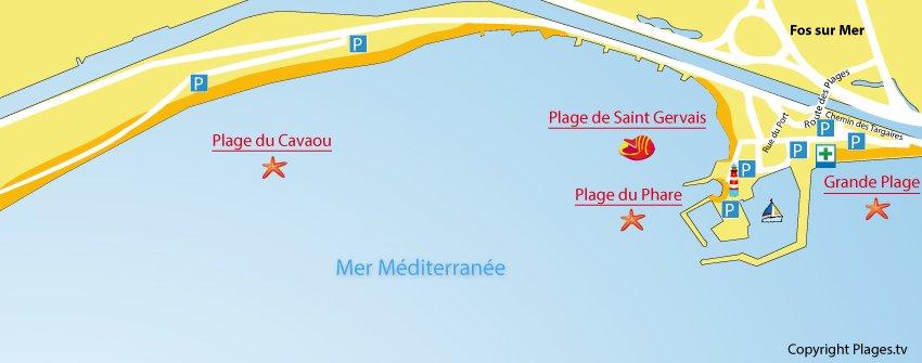 Carte des plages de Fos sur Mer