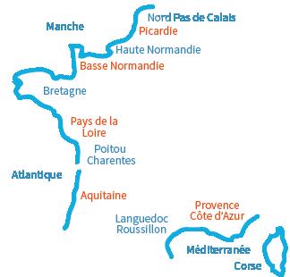 Carte des plages en France