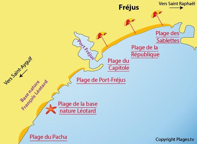Carte des plages de Fréjus dans le Var