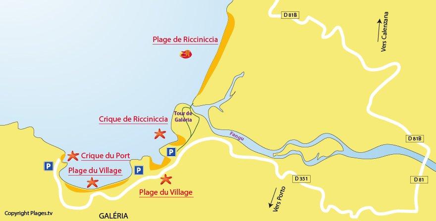 Plan des plages de Galéria en Corse