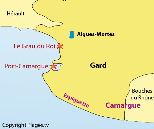 Map of the seaside resorts in Gard department in France