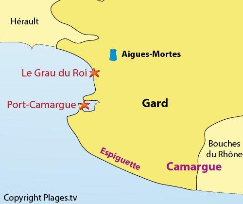 Carte des plages du Gard