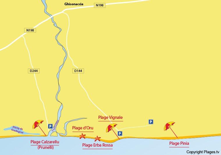 Carte des plages de Ghisonaccia en Corse