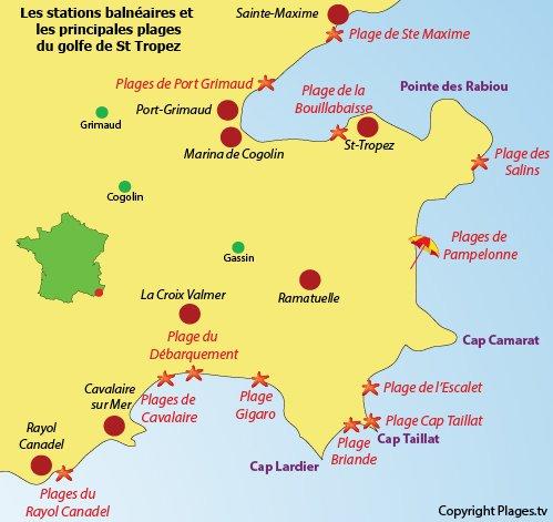Carte des plages du golfe de Saint Tropez dans le Var