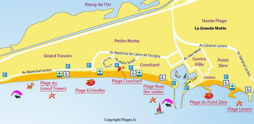 Plan des plages de la Grande Motte