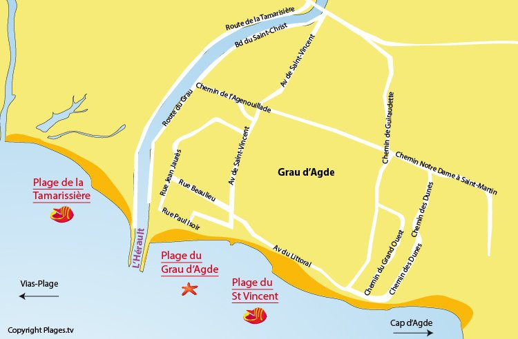 Plan des plages du Grau d'Agde