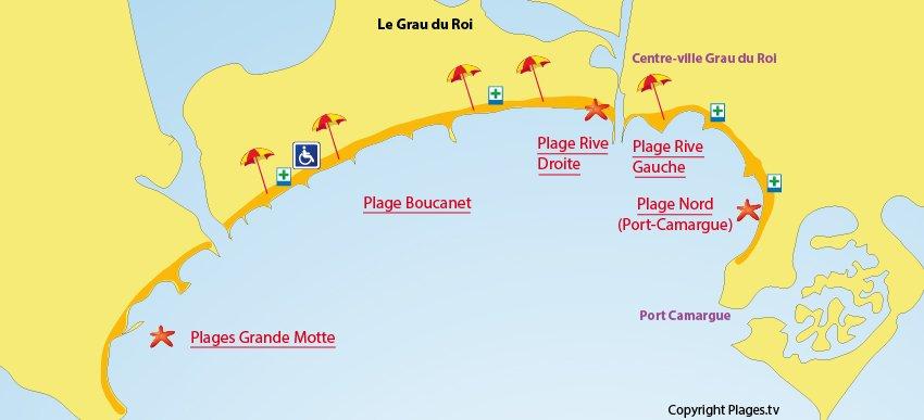 Carte des plages du Grau du Roi