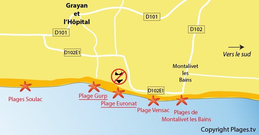 Carte des plages de Grayan l'Hôpital en Gironde