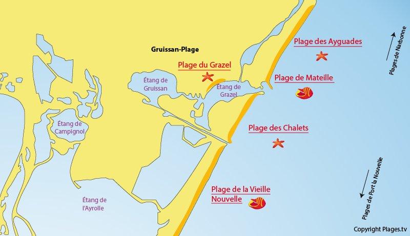 Carte des plages de Gruissan