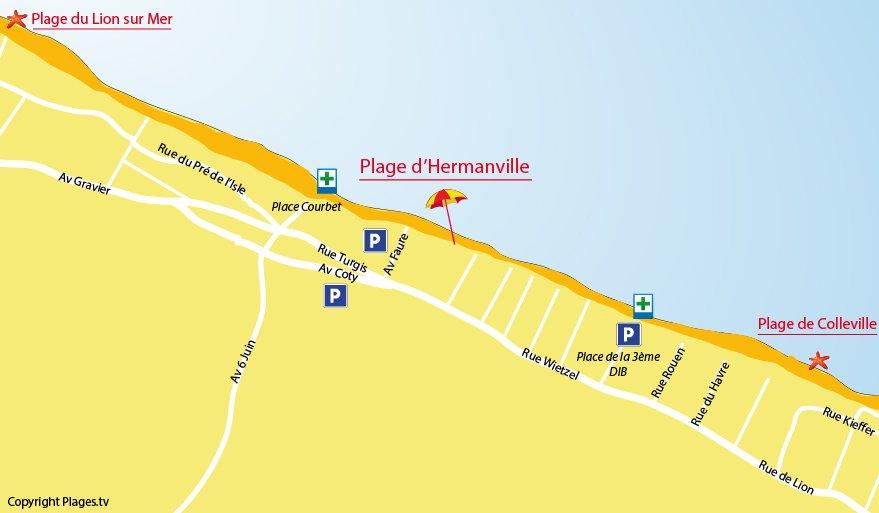 Carte de la plage d'Hermanville sur Mer