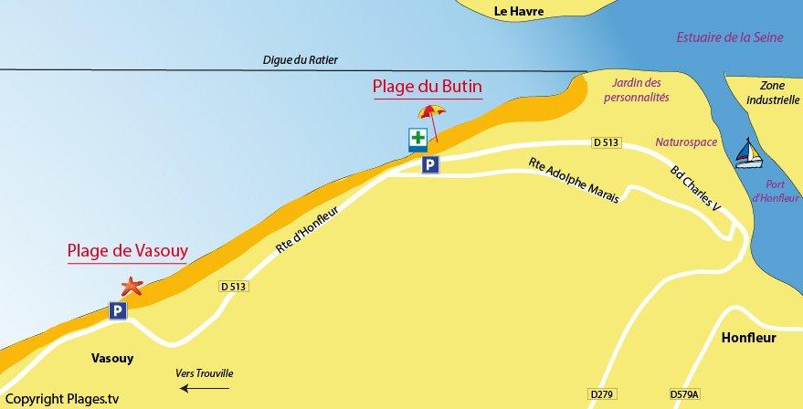 Plan des plages d'Honfleur en Normandie