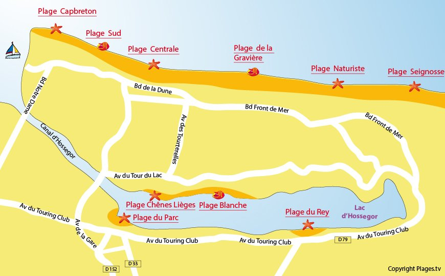 Carte des plages d'Hossegor dans les Landes