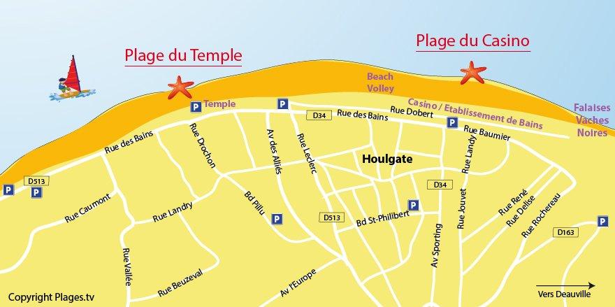 Carte des plages à Houlgate