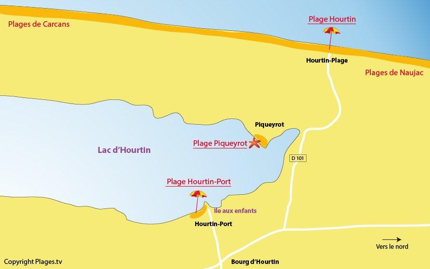 Plan des plages d'Hourtin