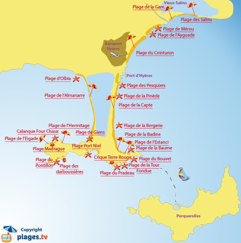 Plan des plages à Hyères et sur la presqu'île de Giens