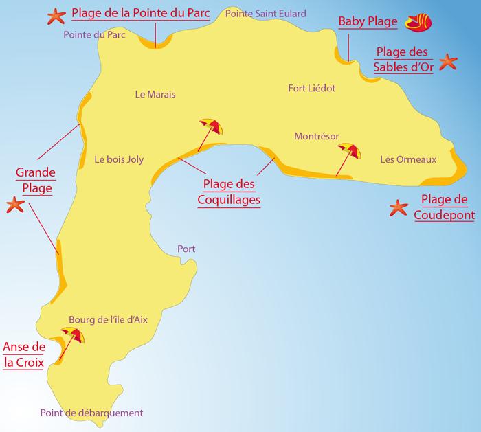 Carte des plages sur l'Ile d'Aix