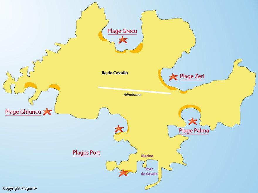 Plan des plages sur l'ile de Cavallo