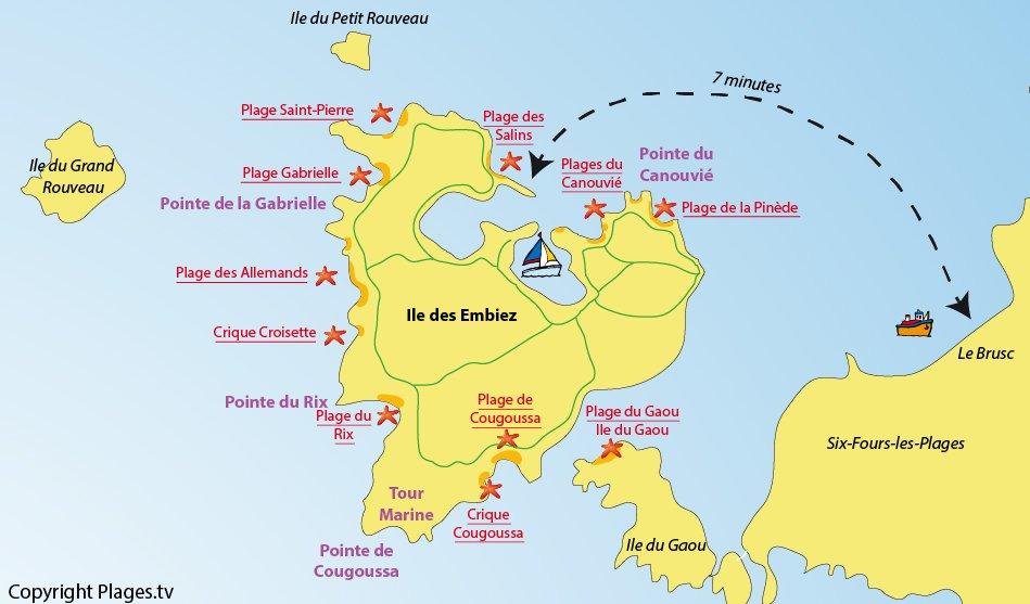 Plan des plages sur l'ile des Embiez dans le Var