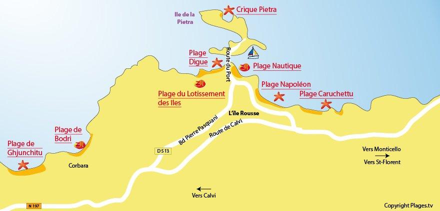 Carte des plages de l'Ile Rousse - Corse