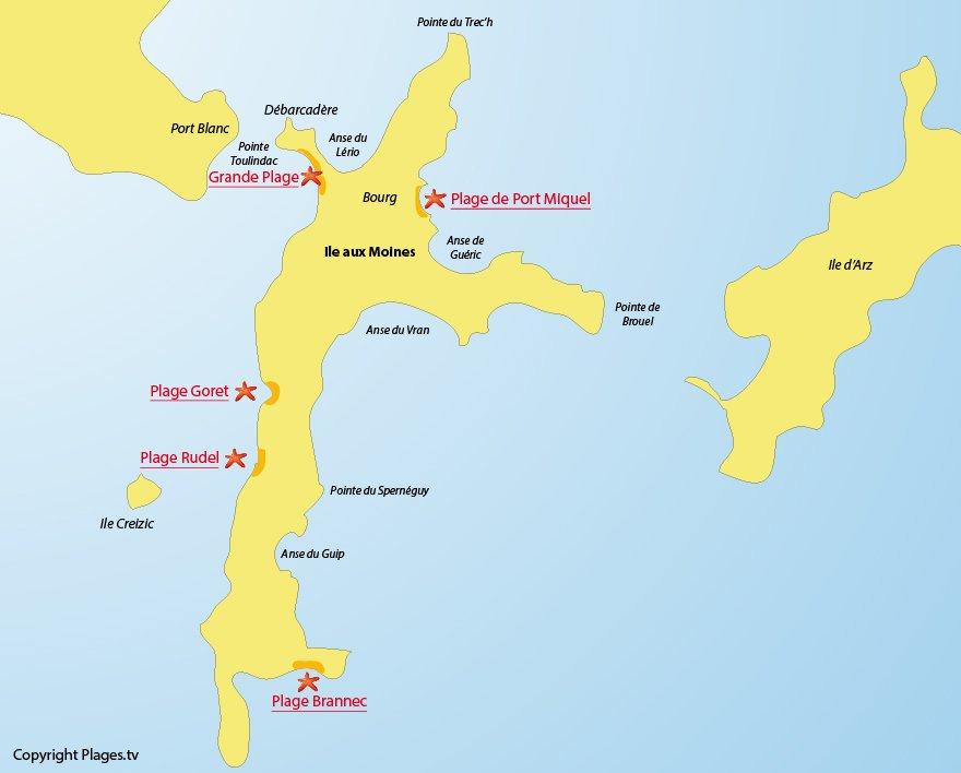 Plan des plages de l'Ile aux Moines (Golfe du Morbihan)