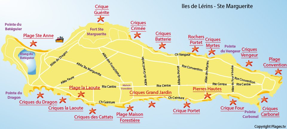 Carte des plages de l'ile de Lérins de Sainte Marguerite