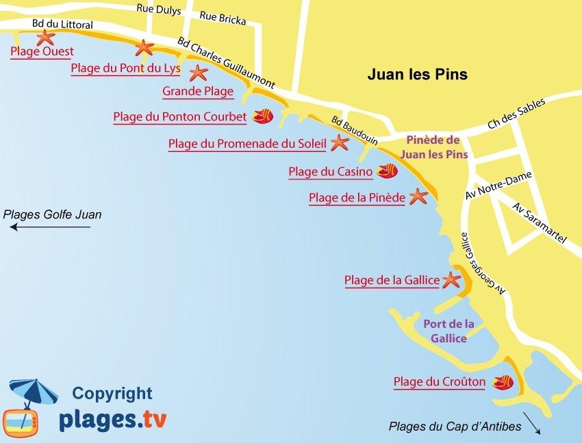 Plan des plages de Juan les Pins