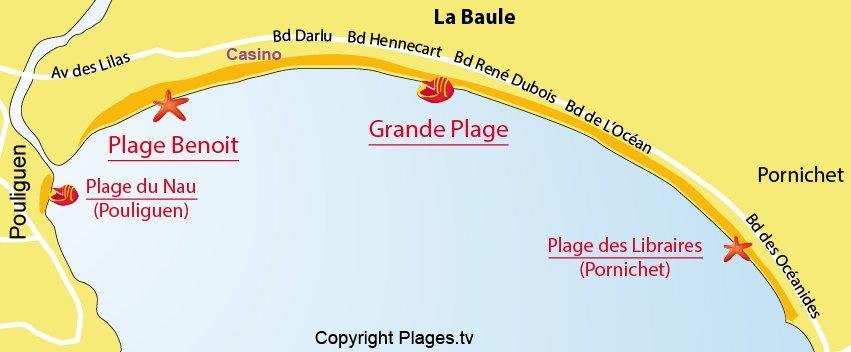 Carte des plages de La Baule (44)