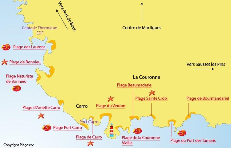 Carte des plages de La Couronne - Martigues