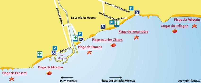 Carte des plages à la Londe les Maures dans le Var