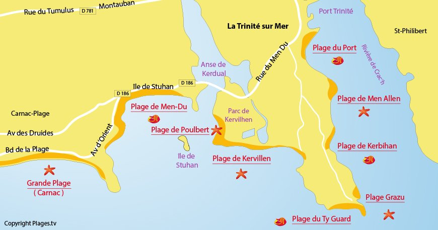 Carte des plages de la Trinité sur Mer 56