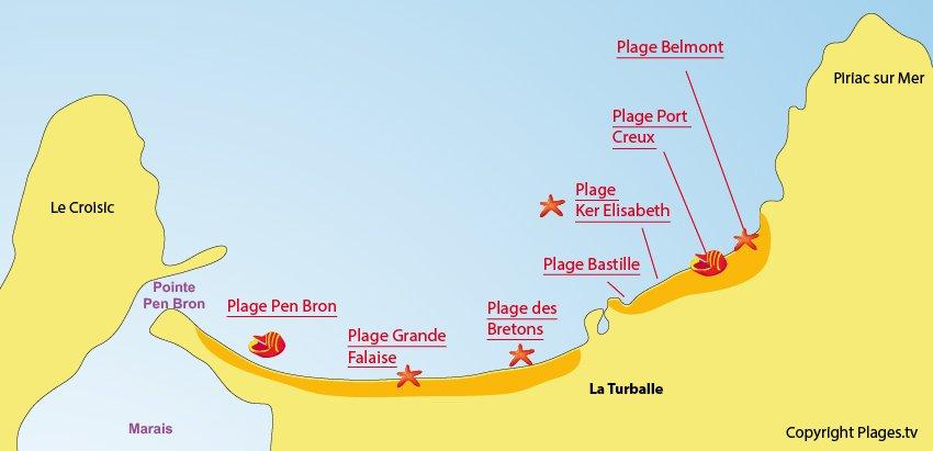 Plan des plages de La Turballe
