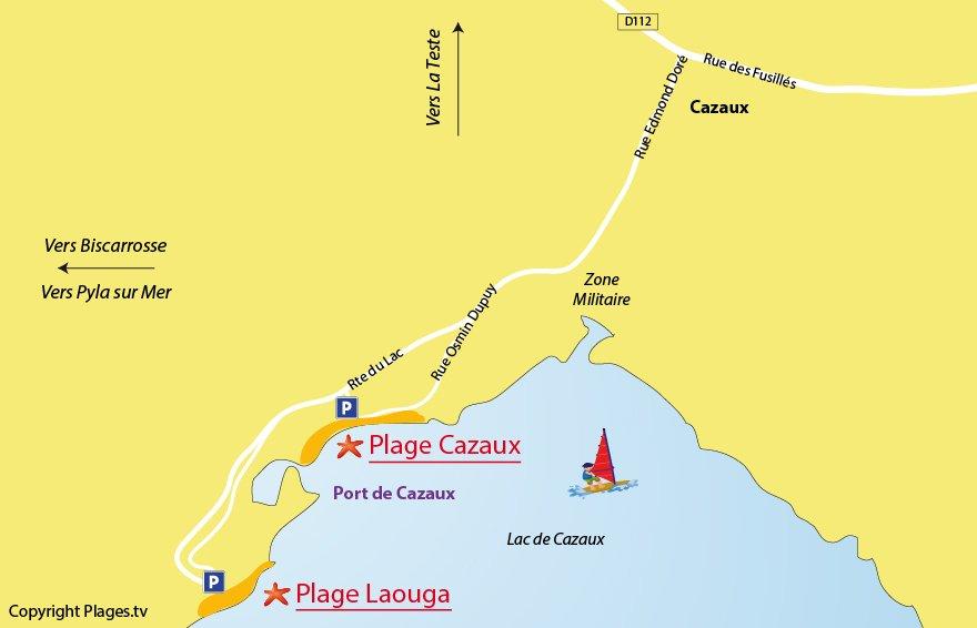 Carte des plages de La Teste - Lac de Cazaux