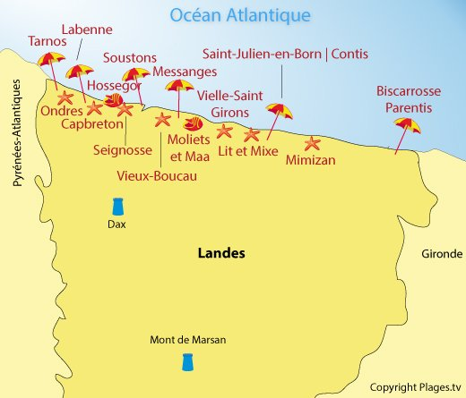 Dipartimenti Francia Cartina.Spiagge Landes 40 Francia Localita Balneari Nel