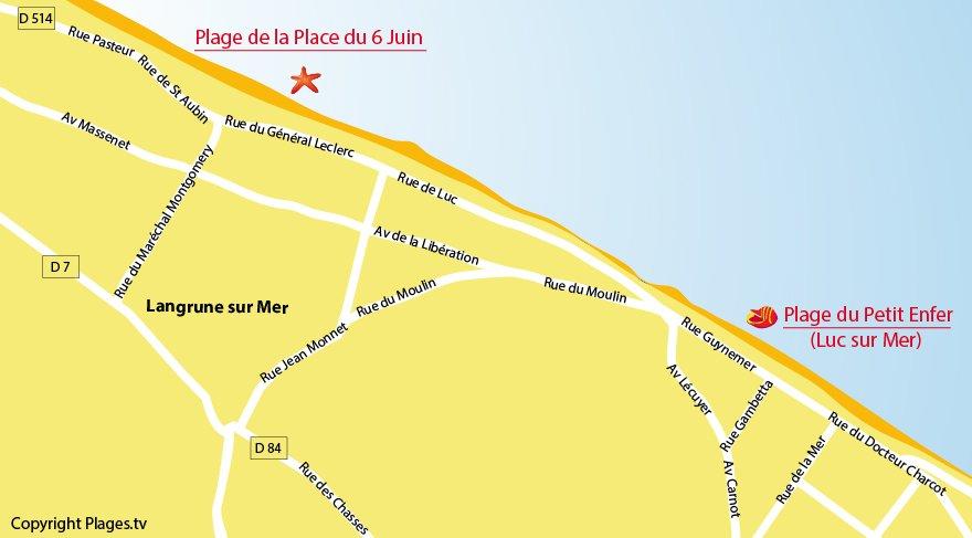 Carte des plages de Langrune sur Mer