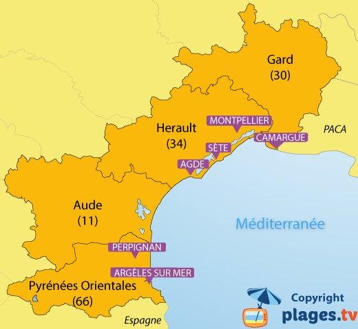 Carte des plages et des stations balnéaires dans le Languedoc Roussillon