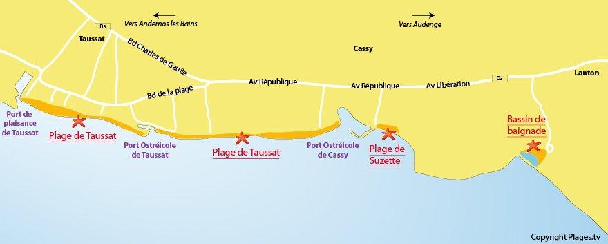 Plan des plages de Lanton