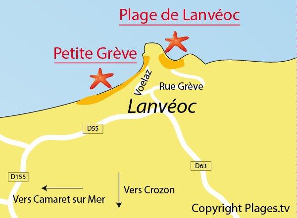 Plan des plages de Lanvéoc sur la presqu'ile de Crozon